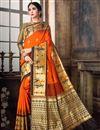 image of Traditional Art Silk Function Wear Weaving Work Designer Saree In Orange