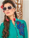photo of Designer Cyan Color Party Wear Kurti In Georgette Fabric
