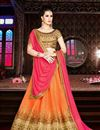 image of Ravishing Orange Color Party Wear 3 Piece Lehenga With Embroidery Work On Silk Fabric