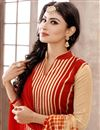 photo of Mouni Roy Cream-Red Color Cambric Designer Suit