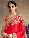 photo of Festive Wear Designer Red And Cream Color Satin And Silk Fancy Embellished Saree