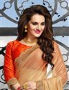 photo of Beige-Red Color Designer Chiffon Saree with Embroidery