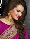 photo of Magenta-Beige Color Embroidered Designer Saree in Georgette Fabric