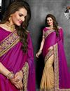 image of Magenta-Beige Color Embroidered Designer Saree in Georgette Fabric