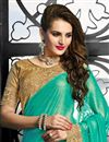 photo of Embroidered Designer Chiffon-Net Saree in Turquoise-Off White Color