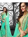 image of Designer Wear Chiffon-Net Saree with Embroidery in Sea Green Color