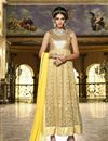 photo of Charming Yellow-Beige Color Georgette-Net Anarkali Suit