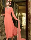 photo of Orange Color Enticing Georgette-Net Anarkali Salwar Kameez