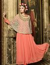 image of Orange Color Enticing Georgette-Net Anarkali Salwar Kameez