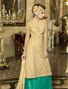 image of Sea Green Color Enticing Net Party Wear Sharara Top Lehenga