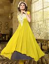 photo of Charming Yellow-Grey Color Georgette Anarkali Suit