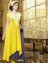 image of Engrossing Georgette Party Wear Anarkali Salwar Suit in Yellow-Grey Color