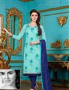 image of Classic Sky Blue Color Cotton Designer Suit