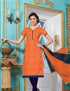image of Soothing Orange Color Cotton Party Wear Suit