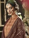 photo of Printed Daily Wear Straight Cut Salwar Kameez In Coffee Color Cotton Fabric