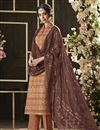 image of Printed Daily Wear Straight Cut Salwar Kameez In Coffee Color Cotton Fabric