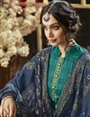 photo of Teal Color Simple Printed Straight Cut Salwar Kameez In Cotton Fabric