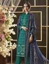 image of Teal Color Simple Printed Straight Cut Salwar Kameez In Cotton Fabric