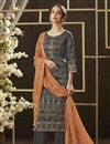 image of Cotton Fabric Daily Wear Printed Straight Cut Salwar Kameez In Grey Color