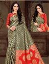 image of Function Wear Dark Beige Weaving Work Saree In Art Silk Fabric With Party Wear Blouse