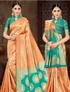 image of Art Silk Fabric Orange Party Wear Saree With Weaving Work Designs And Tempting Blouse