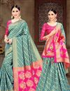 image of Weaving Work On Teal Art Silk Fabric Party Wear Saree With Designer Blouse