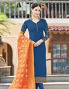 image of Georgette Straight Cut Churidar Suit With Heavy Dupatta