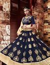 image of Designer Party Wear Georgette Lehenga Choli In Navy Blue Color