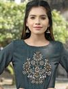 photo of Cotton Fabric Long Casual Wear Kurti In Grey With Work