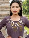 photo of Long Casual Wear Kurti In Cotton Fabric Lavender Color With Work