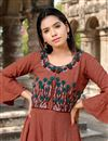 photo of Rust Color Cotton Fabric Casual Long Kurti With Work