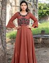 image of Rust Color Cotton Fabric Casual Long Kurti With Work