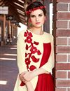 photo of Georgette Party Wear Beautiful Red And Cream Color Designer Kurti