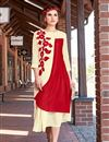 image of Georgette Party Wear Beautiful Red And Cream Color Designer Kurti