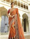 image of Orange Embroidered Designer Georgette Saree