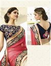 photo of Pink Satin-Chiffon Embroidered Designer Saree