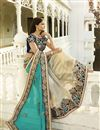 photo of Beige Satin-Chiffon Embroidered Designer Saree