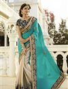 image of Beige Satin-Chiffon Embroidered Designer Saree