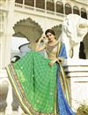 photo of Blue-Green Georgette Embroidered Saree with Blouse