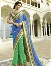 image of Blue-Green Georgette Embroidered Saree with Blouse
