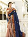 image of Navy Blue-Pink Embroidered Designer Georgette Sari