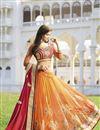 image of Red-Orange Silk-Net Designer Embroidered Saree