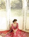 photo of Peach-Pink Silk-Net Embroidered Designer Saree