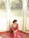 photo of Peach-Pink Silk-Net Embroidered Designer Saree