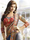 photo of Blue-Grey Designer Saree with Dhupion Blouse