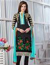 image of Georgette Fabric Designer Party Wear Salwar Suit In Black Color
