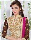 photo of Cream Party Wear Long Length Salwar Kameez In Georgette Fabric