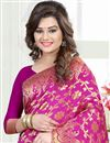 photo of Pink Color South Indian Style Party Wear Banglori Silk Jacquard Saree