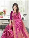 image of Pink Color South Indian Style Party Wear Banglori Silk Jacquard Saree