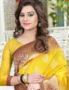 photo of Party Wear Designer Yellow Color Saree In Banglori Silk Jacquard Fabric
